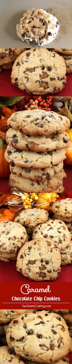 Caramel Chocolate Chip Cookies - take this classic cookie to the next level with this great recipe that includes Kraft Caramel Bits.