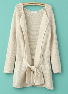 Perfect with a great pair of skinny jeans and boots // Beige Long Sleeve Drawstring Loose Cardigan Sweater