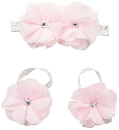 Toby & Company Baby 2 Piece Chiffon Gem Flower Headband and Barefoot Sandal Set, Light Pink, Newborn Infant Blended. Perfect for newborn photo-shoots. Fits sizes 0-12 months or until walking. Great gift giving item. Decorate your baby item.