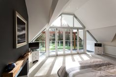 Our Duette gable window blinds are almost invisible when retracted Blinds For Windows, Window Blinds, Gable Window, Attic Master Bedroom, Garage Room, St Lawrence, Grand Designs, Stairs, Bungalow Ideas