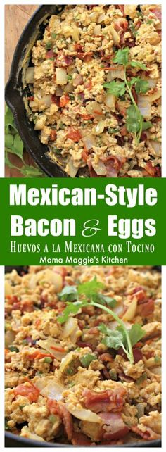 Huevos a la Mexicana con Tocino, or Mexican-Style Bacon and Eggs, is a yummy Mexican breakfast with a spin. Adding bacon elevates this dish to a whole, new delicious level. Spicy Recipes, Brunch Recipes, Mexican Food Recipes, Breakfast Recipes, Dinner Recipes, Cooking Recipes, Mexican Breakfast, Breakfast Bites, Enchiladas