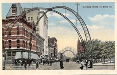 Springfield, Illinois. 5th Street during the 1900's showing the World's Fair arches. Courtesy of Springfield Rewind.