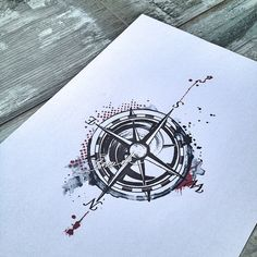 Compass tattoo trash polka watercolor black red
