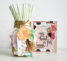 WendyAntenucci_jar and card Maggie Holmes-Crate Paper. Gold jar is beautiful with this line.