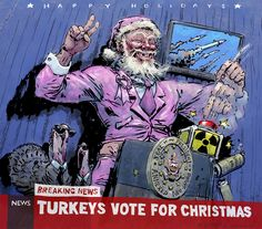 Highly Questionable Santa 2016  As our Christmas card anti-hero hits his tenth year, like all ageing attention-seekers he's moved into politics. But nuclear war's threat of 'Mutually-Assured Destruction' looms large...  Could this be the end of Highly Questionable Santa? Santa Christmas, Christmas Cards, Attention Seekers, Nuclear War, Ageing, Destruction, Politics, Hero, Fictional Characters