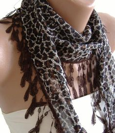Brown leopard  Elegance Leopard Shawl / Scarf with Lacy by womann, $9.00