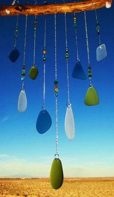Beach Glass Windchime with Glass Beads by mexicobeachgirl on Etsy, $45.00