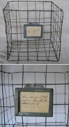 DIY :: FRENCH WIRE BASKET w/ TAG :: I REALLY inspected this picture & it appears the basket was made by assembling 5 panels of wire--a square frame for each, then running 4 lines of wire down & 4 across (you could even loop them around each wire you cross for addt'l support). Then they were all connected by looping some more wire around at the corners. A label tag w/ french writing was added. She said she paid 123 bucks...I could do it for 5...maybe 10 w/ the tag ;] | #wirebasket #frenchbasket