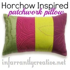 Patchwork pillow knock off from Horchow.  Great stashbuster project.