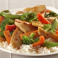 Stir-fry is a great way to incorporate more vegetables and less meat into your family's diet. This low fat recipe is full of bright color and texture from the vegetables and flavor from the ginger and soy stir-fry sauce.