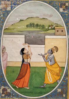 Radha and Krishna Toss a Flower By Fattu Guler, 1770