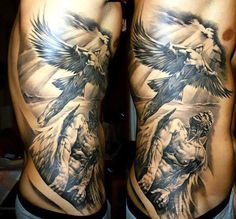 Cool female angels tattoo. One angel is flying up to the sky, and the other is looking after him. A really great work. Style: Black and Gray. Color: Gray. Tags: Cool, Best, Nice