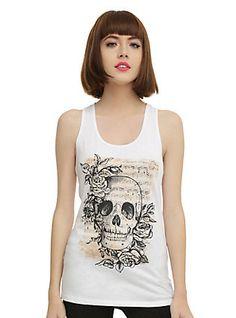 Skull Sheet Music Girls Tank Top, WHITE