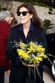 Princess Caroline of Hanover arrives on 20.01.2015 to visit the 'Construire une collection' or 'Building a Collection' exhibition, a new exhibition consisting of a selection of works acquired over the last ten years at the New National Museum in Monaco. The exhibition will run from January 22 to June 7, 2015