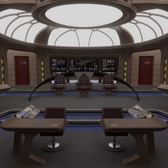 This is the bridge of the USS Astraeus, a first batch Galaxy-Class starship which underwent a heavy refit in the The bridge design is heavily inspired by the USS Challenger bridge, but incorporating a more traditional Galaxy layout, plus Star Trek Rpg, Star Trek Ships, Spaceship Interior, Futuristic Interior, Star Trek Bridge, Star Trek Images, Star Trek Starships, Bridge Design, Star Trek Voyager