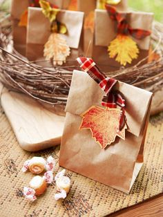 With a simple brown paper bag, some leaves and fabric you can make this cute treat bag. Could use for Thanksgiving gifts. Thanksgiving Crafts, Holiday Crafts, Holiday Fun, Autumn Crafts, Harvest Party, Fall Harvest, Wrapping Gift, Wrapping Ideas, Fall Gifts