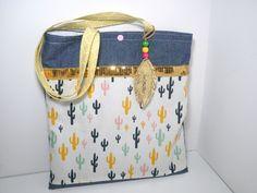 tote bag enfant prénom fille /sac bibliothèque/cabas cactus paillette plume doré : Sacs enfants par maluciole
