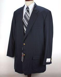 9bcee8dad Argio Blazer Sport Coat size 56 XL Navy Blue Gold Btn Wool Polyester Blend  NWT #