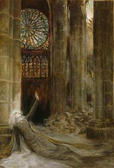 """loumargi: """" Georges-Antoine Rochegrosse - Interieur de Cathedral (Interior of a cathedral), 1915 """""""