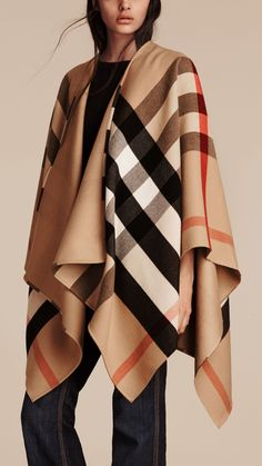 Check Wool Poncho Camel | Burberry
