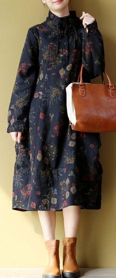 2018 blue prints linen dress trendy plus size long sleeve cotton maxi dress