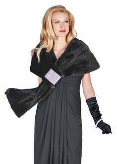 What to wear when a touch of Hollywood is called for? This stunning mink wrap with the ultra feminine look of rich,black, mink contrasted with a swath of Winter Poncho, Mink Stole, Cashmere Cape, Poncho Coat, Fur Cape, Capelet, Fashion Cape, Winter Fashion, Wrap