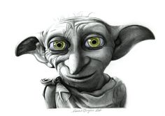Dobby from Harry Potter Pencil Drawing PRINT by CoralBrigliaArtist, $14.99