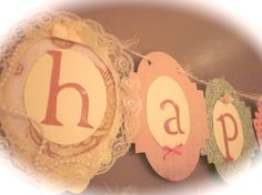 Happy first 1st Birthday Banner girl birthday party sign decorations shabby chic vintage style