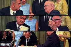 President Lyndon B. Johnson signed the bill creating Medicare and Medicaid at the library of former President Harry Truman, who was in attendance, on July 30, 1965. (Photos courtesy of Truman Library)  Truman: Harry Truman's application for Medicare (Photo courtesy of the Truman Library)