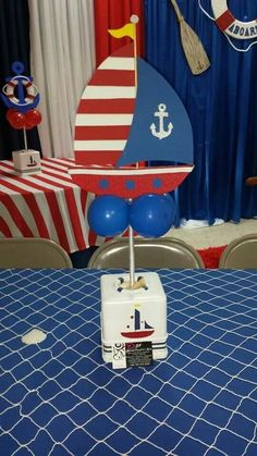 Baby Party, Baby Shower Parties, Baby Boy Shower, Nautical Baby Shower Decorations, Nautical Party, Party Centerpieces, Party Favors, First Birthday Parties, First Birthdays
