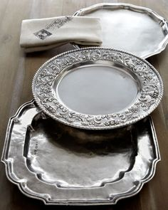 Pewter Charger Plates! The round ones would be beautiful on a table under any color china or plates! #pewter, charger, tablescape, entertaining, diner party, formal, table setting, luxury