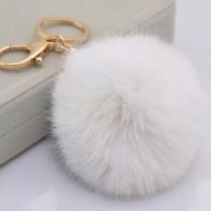 """Reg. Price: $15 White Pom Pom Keychain Material: Faux Fur & Gold chain w/ clamp Color: White  Condition: 100% Brand New  Size: Approx. 4""""  Shipment: One day ship Trades: No Accessories Key & Card Holders"""