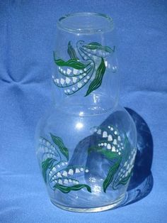 crystal bedside carafe   vintage lily of the valley glass tumble up bedside carafe w/ tumbler