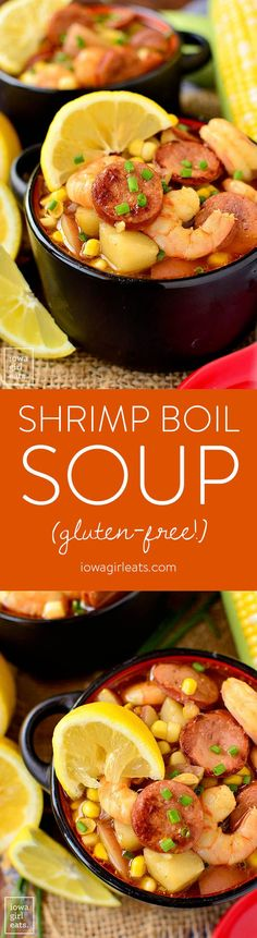 Shrimp Boil Soup has all the flavor of a low-country boil but is made right on the stove top. This quick cooking, gluten-free soup recipe is spicy, savory, and so satisfying. | iowagirleats.com