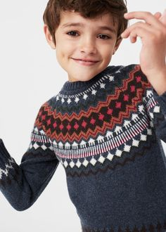 Jacquard wool sweater | MANGO KIDS