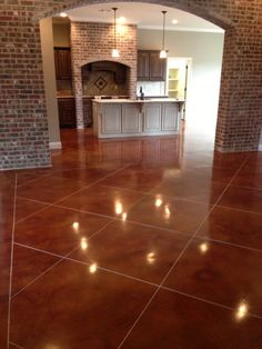 Stained Concrete in main living area Stained Cement Floors, Concrete Floors, Concrete Bricks, Basement Remodeling, Home Renovation, My Dream Home, Home Projects, Future House, Decoration