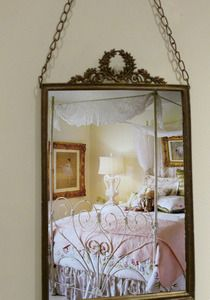 French Paris Cottage Chic Metal Framed Mirror w/Chain
