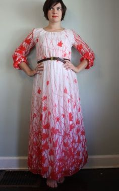 Oh Canada! Red maple leaf maxi dress.