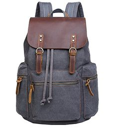 Berchirly Men Real Leather Flapcover Laptop Backpack Trav...
