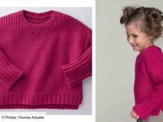 Free knitting: the jersey and rib sweater - Tricot gratuit : le pull en jersey et côtes Large and comfortable like a sweatshirt, this fuchsia pink model is knitted in reverse jersey with shoulders in rib, cuffs and bottom in rib … Tricot Baby, Ravelry, Work Tops, Pullover, Ribbed Sweater, Couture, Rose Fuchsia, Free Knitting, Knitting Patterns