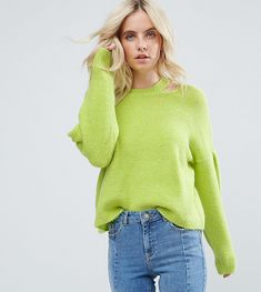 ASOS PETITE Sweater with Volume Sleeve and Cut Out Neck - Yellow