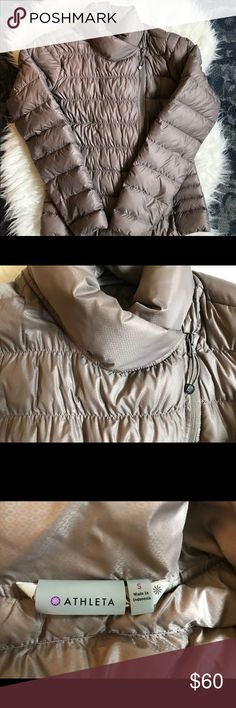 Athleta goose down puffer jacket EUC. 100% goose down puffer jacket. Slim flattering fit. Color is a beige rose. Athleta Jackets & Coats Puffers