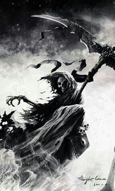 Grim Reaper, wish he would strike mankind more often Death Reaper, Grim Reaper Art, Grim Reaper Tattoo, Don't Fear The Reaper, Dark Fantasy Art, Dark Art, Fantasy Creatures, Mythical Creatures, Creation Art