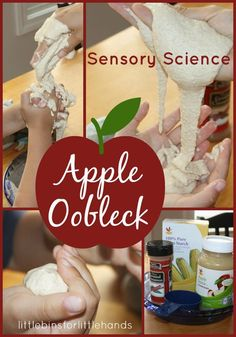 Apple Oobleck made With Apple Sauce Sensory Science Experiment Hands-On Learning And Play Fall is an excellent time of the year to put a little twist on classic science experiments! That's how we decided to try apple oobleck! Oobleck is a classic sensory science experiment made from two ...