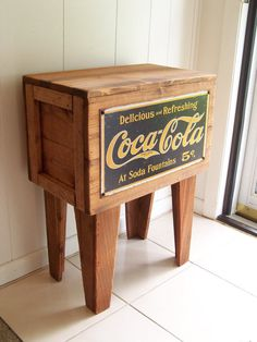 Reserved for Kim    COCA COLA Shipping Crate TABLE by MrsRekamepip, $135.00
