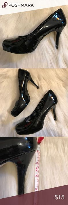 """Madden Girl black heels Black patent leather Madden Girl heels. This is a Re-Posh item; 3.5"""" heels are just too high for my coordination (or lack thereof) 😂 There is a slight smudge on the inside left shoe (shown in last pic), but not visible when worn. Madden Girl Shoes Heels"""