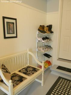 Forever Decorating storage and mudroom
