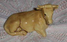 Vtg Pastel Light Brown Tan Beige Cow Figurine Porcelain Calf Signed J. J. Son