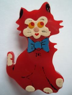 Vintage Brooch/Pin 1940s Celluloid Red Cat