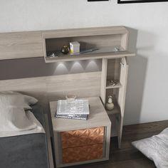 Bedroom Furniture Design, Bed Furniture, Bedroom Decor, Stone Wall Living Room, Box Bed Design, Small Space Bedroom, Wood Platform Bed, Bedding Inspiration, Headboard Designs